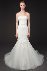 Floor-Length Mermaid Floral Strapless Tulle Wedding Dress With Court Train