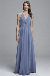 Sheath V-Neck Floor-Length Ruched Sleeveless Chiffon Bridesmaid Dress