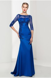 Elegant Satin and Tulle Mermaid Bateau Half-Sleeve Long Dress with Applique