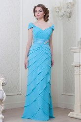 V-Neck Long Ruched Jeweled Chiffon Bridesmaid Dress With Tiers And V Back