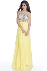 Sleeveless A-Line Chiffon Long Prom Dress With Sequined Bodice And Deep V-Back