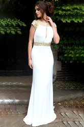Beaded Scoop Neck Cap Sleeve Chiffon Prom Dress With Keyhole