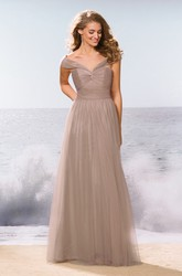 V-Neck Off-Shoulder A-Line Bridesmaid Dress With Pleats And Keyhole Back