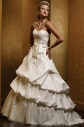 Ball Gown Sweetheart Pick-Up Satin Wedding Dress With Embroidery And Tiers