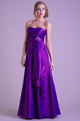 A-Line Sweetheart Sleeveless Broach Floor-Length Satin Prom Dress With Draping