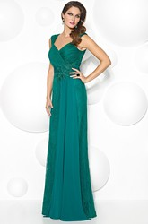 Floor-Length Criss-Cross Queen Anne Lace Prom Dress With Appliques