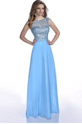 A-Line Jewel Neck Sleeveless Chiffon Prom Dress With Keyhole Back And Rhinestones