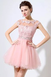 A-line Short Mini Short Sleeve Bateau Beading Pleats Lace Tulle Homecoming Dress