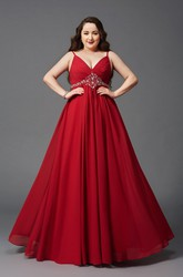 A-line Floor-length Spaghetti Sleeveless Chiffon Ruching Waist Jewellery Zipper Dress