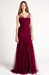 Mermaid Sleeveless V-Neck Ruched Tulle Bridesmaid Dress