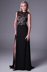 Sheath High-Neck Maxi Split-Front Sleeveless Chiffon&Lace Prom Dress