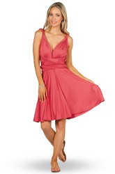 Sleeveless Knee-Length V-Neck Chiffon Convertible Bridesmaid Dress With Ruching And Straps