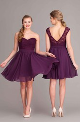 Mini A-Line Sleeveless Sweetheart Lace Chiffon Bridesmaid Dress With Bow