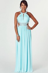 Maxi Sleeveless Scoop Neck Ruched Chiffon Prom Dress