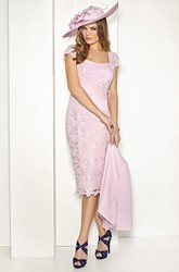 Pencil Knee-Length Appliqued Cap-Sleeve Mother Of The Bride Dress