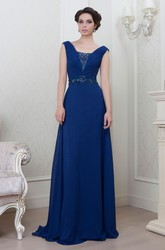 A-Line Sleeveless V-Neck Floor-Length Ruched Chiffon Evening Dress With Beading