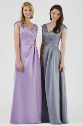 Floor-Length V-Neck Ruched Satin Bridesmaid Dress With V Back