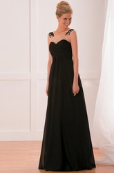 Cap-Sleeved A-Line Gown With Crisscrossed Ruches And Illusion Style
