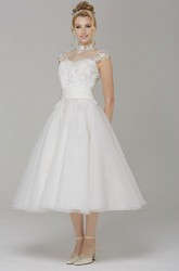 A-Line High Neck Cap-Sleeve Tea-Length Tulle Wedding Dress With Appliques And Illusion