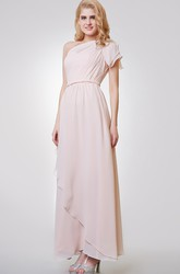 One Shoulder A-line Long Chiffon Dress With Side Draping