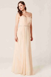 Strapless Floor-Length Jeweled Chiffon Bridesmaid Dress With Ruching And Corset Back