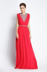 Floor-length Sleeveless A-Line Jewel Chiffon Prom Dress with Beading and Ruching