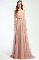 Strapless Ruched Tulle Bridesmaid Dress With Waist Jewellery