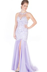 Maxi Mermaid Appliqued High Neck Sleeveless Tulle Prom Dress