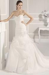 Mermaid Sweetheart Organza Wedding Dress With Criss Cross And Pick Up