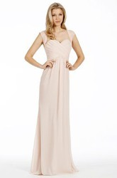 Criss-Cross Sweetheart Cap Sleeve Chiffon Bridesmaid Dress With Straps