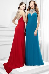 Sheath Sleeveless High-Neck Beaded Long Jersey Prom Dress