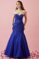 Mermaid Long Sweetheart Satin Lace-Up Dress With Appliques And Waist Jewellery