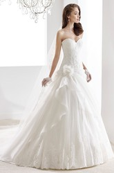 Sweetheart A-Line Lace Gown With Illusive Lace Straps And Keyhole Back