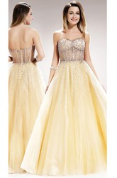 A-Line Long Sweetheart Sleeveless Satin Backless Dress With Beading
