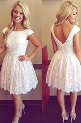 A-line Short Mini Short Sleeve Bateau Beading Pleats Lace Homecoming Dress