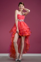 A-Line High-Low Sweetheart Sleeveless Tulle Dress With Ruffles And Tiers