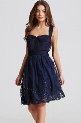 Short Strapped Sleeveless Appliqued Tulle Bridesmaid Dress With Ruching