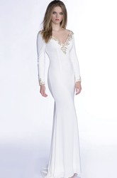 V-Neck Long Sleeve Jersey Mermaid Prom Dress With Beaded Trim And Low-V Back
