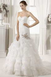 Mermaid Sweetheart Ruffled Organza Wedding Dress With Criss Cross And Cape