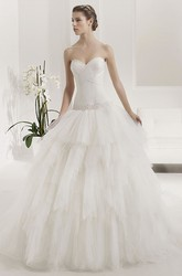 Criss-Cross Sweetheart Appliqued Drop Waist Layered Tulle Bridal Gown