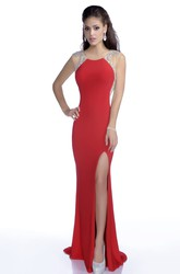 Side Slit Jersey Trumpet Sleeveless Prom Dress With Beaded Appliques