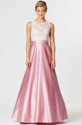 A-Line Lace Sleeveless Scoop Neck Satin Bridesmaid Dress With Illusion Back