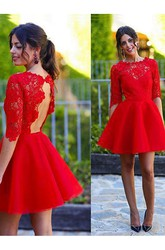 A-line Short Mini Half Sleeve Jewel Scalloped Lace Ruching Satin Lace Homecoming Dress