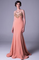 Sheath Sleeveless Beaded Long Scoop-Neck Jersey Prom Dress