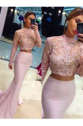 Illusion Long Sleeve Sweep Brush Train Mermaid Trumpet Two Piece High Neck Satin Lace Dress