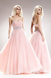 A-Line Long Sweetheart Tulle Backless Dress With Criss Cross And Waist Jewellery