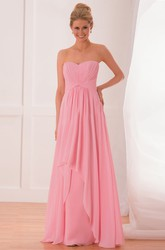 Sweetheart Chiffon Gown With Knot Detail And Ruffles