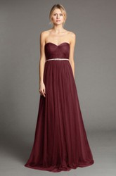 Floor-Length Sweetheart Ruched Tulle Bridesmaid Dress With Waist Jewellery