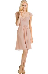 Mini Cap Sleeve Ruched V-Neck Chiffon Muti-Color Convertible Bridesmaid Dress