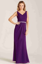 Sheath Draped Sleeveless V-Neck Chiffon Bridesmaid Dress With Waist Jewellery